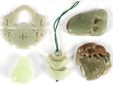 GROUP OF FIVE (5) CHINESE JADE CARVINGS - Includes a small s