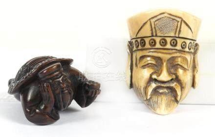 TWO JAPANESE NETSUKE - First, carved wood portrayal of a kap