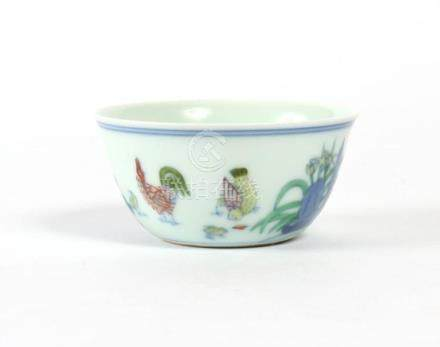 CHINESE DOUCAI PORCELAIN CUP - Ming style with subtle flared