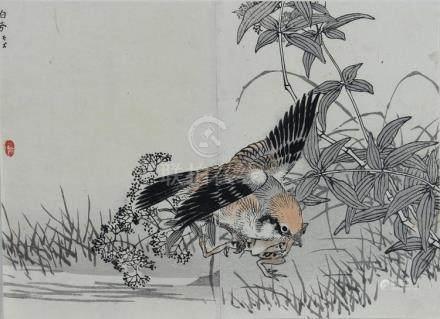 KONO BAIREI (1844-1895, Japan) BAIREI HYAKUCHO GAFU DIPTYCH