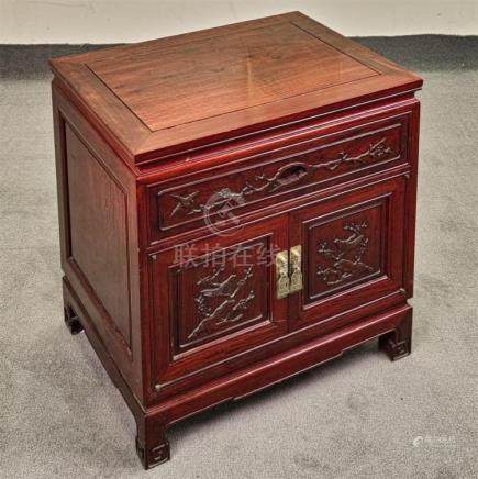 DOUBLE DOOR CABINET - Chinese red stained rosewood with rect