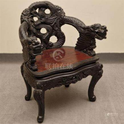 SMITH TOWER DRAGON ARMCHAIR - Antique Chinese with relief-ca