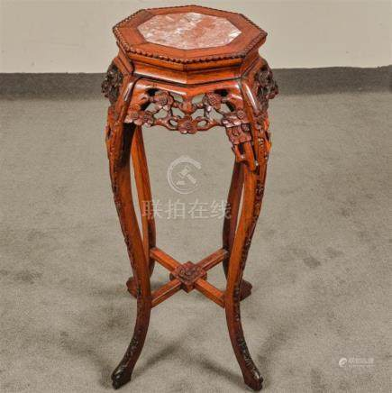 URN STAND - AntiqueChinese rosewood with inset rouge marble