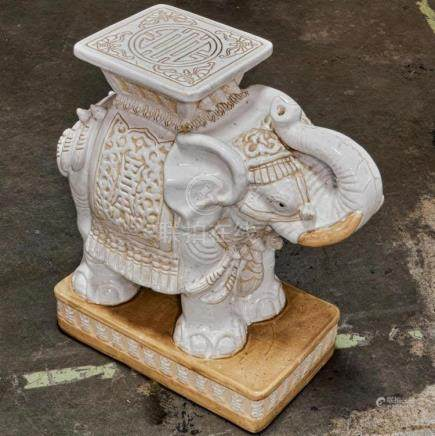 GARDEN SEAT - Vintage, elephant-form porcelain with rectangu