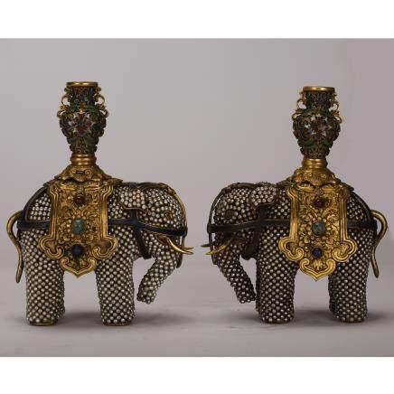 PAIR OF CHINESE CLOISONNE ENAMEL ELEPHANTS