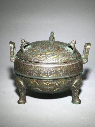 A Bronze and Silver Censer