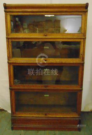 Globe Wernicke rectangular four section oak bookcase