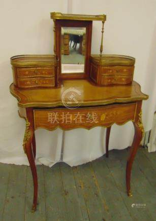 A kingswood inlaid Bonheur with tooled leather top on four cabriole legs, A/F