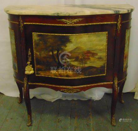 A marble top Louis XVI style cabinet with painted side panels on cabriole legs and detachable marble
