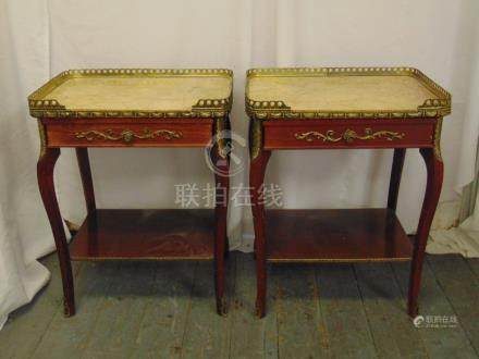A pair of Epstein rectangular side tables with marble tops and gilded metal gallery on four cabriole