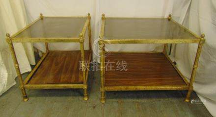 Two rectangular gilded metal and glass side tables