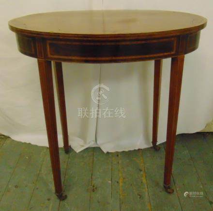 An Edwardian oval inlaid mahogany side table on tapering rectangular legs, A/F