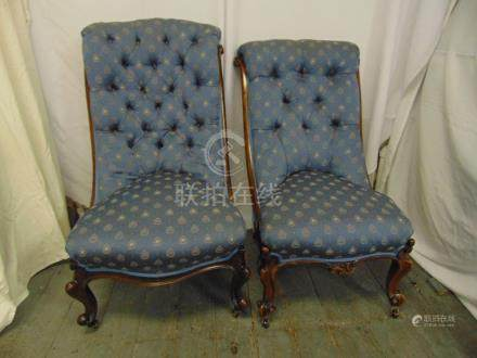 Victorian mahogany button back ladies chair on original castors and another similar