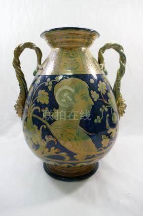 An Italian Ginori Majolica two handled vase,