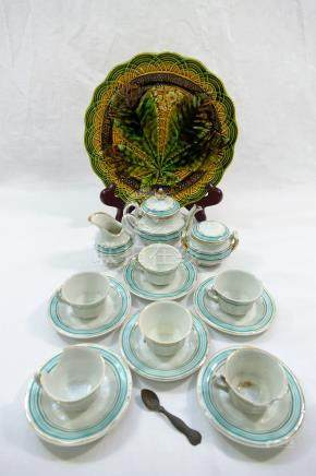 A Victorian child's teaset comprised of a teapot, lidded sugar bowl,
