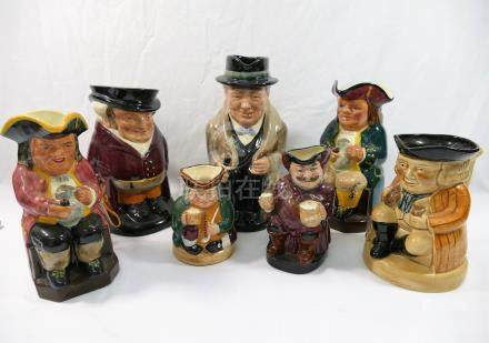 Four Royal Doulton character jugs comprised of 'The Huntsman', 18cm high, 'Winston Churchill', 22.