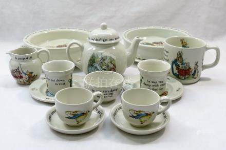 A Wedgwood Peter Rabbit miniature child's tea set, comprised of two plates, two teacups,