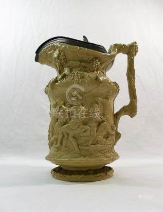 A large 19th century Charles Meigh stoneware 'Bacchanalian Dance' jug,