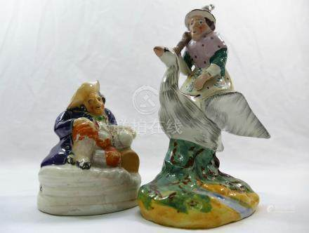 A 19th century Staffordshire figure of Mother Goose, 17.
