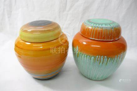 Two Shelley Harmony ginger jars and covers,