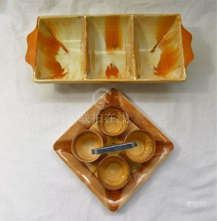 A Shelley Harmony egg cruet and three section bowl - Part of a Private owner collection