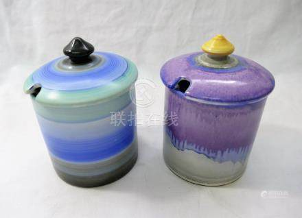 Two Shelley Harmony cylindrical lidded conserve jars, 10.