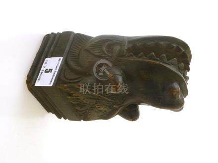 INDONESIAN DRAGON HEAD CARVING FOR WALL MOUNTING APPROX 6\