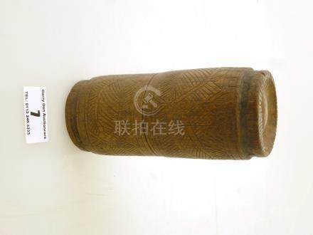 INDONESIAN WOODEN STORAGE POT APPROX 5\