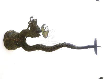 LARGE INDONESIAN BRONZE DRAGON CANDLE HOLDER FOR 2 CANDLES APPROX 19\