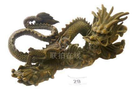 CHINESE BRONZE DRAGON STATUE H:3.5\ L: 9\