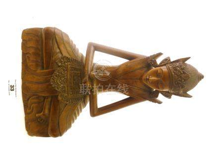 WOODEN MEDITATING INDONESIAN FIGURE APPROX 12\
