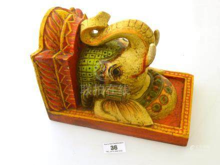 INDIAN PAINTED WOODEN ELEPHANT CONSOLE APPROX 9\X 6\
