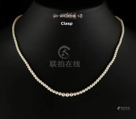 A certificated natural saltwater pearl graduated single row necklace, the one hundred & sixty