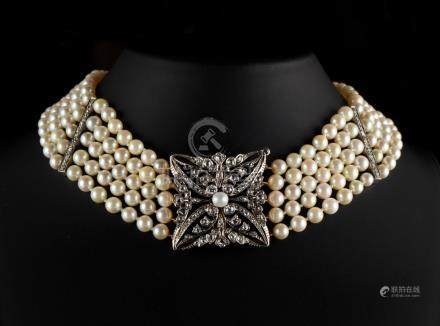 A pearl uniform five row necklace with diamond square floral clasp, the pearls approximately 5.5mm