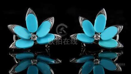 A pair of modern 14ct white gold turquoise & diamond floral earrings, each in the form of five