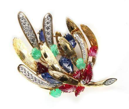 A fine & large multi gem set tutti frutti brooch by Tiffany, signed Tiffany & Co. to the pin with