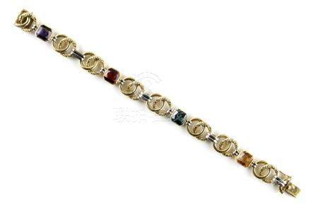 A 14ct yellow & white gold multi gem set link bracelet, with four variously coloured square cut