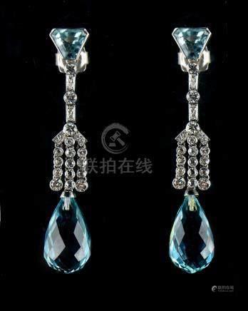 A good pair of Art Deco style unmarked white gold or platinum aquamarine & diamond pendant earrings,