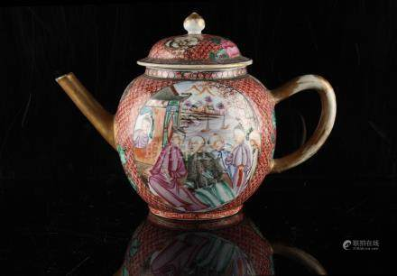 An 18th century Chinese mandarin pattern teapot & cover, three small chips to cover & small chip