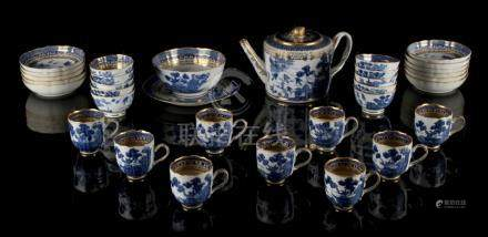 A late 18th century Chinese Qianlong period exportware gilt decorated blue & white thirty-three
