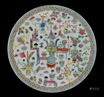 Property of a lady - a Chinese famille rose 'One Hundred Precious Objects' charger, Guangxu