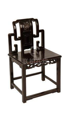 CARVED HARDWOOD 'ZITAN' SIDE CHAIR, LATE QING DYNASTY