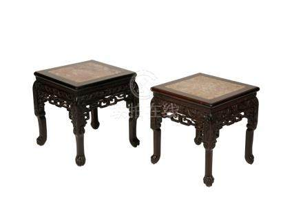 PAIR OF CARVED HARDWOOD LOW STANDS, LATE QING DYNASTY