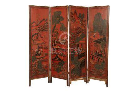 CHINESE RED LACQUER SCREEN, QING DYNASTY, 19TH CENTURY
