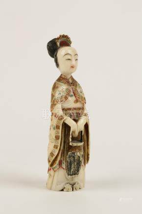 CARVED IVORY AND POLYCHROME PAINTED FIGURE OF A LADY, LATE QING DYNASTY