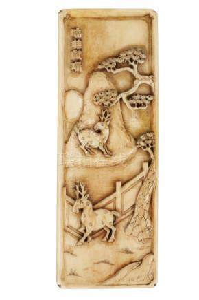 CARVED IVORY PLAQUE, 17TH CENTURY
