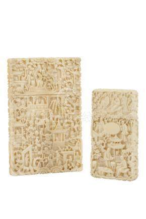 TWO CANTON CARVED IVORY CARD CASES, QING DYNASTY, 19TH CENTURY,