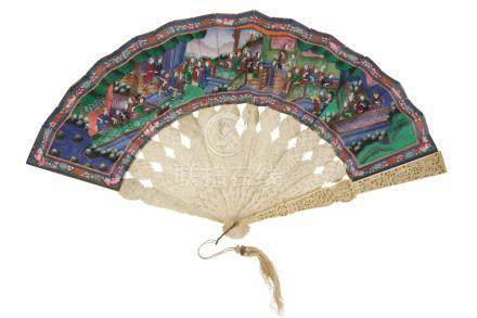 CARVED IVORY AND PAINTED FAN, 19TH CENTURY