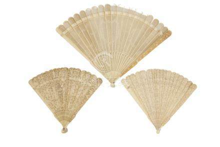 THREE BRISEE CARVED IVORY FANS, QING DYNASTY, 19TH CENTURY