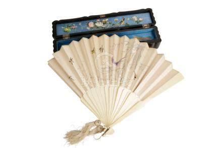 UNUSUAL IVORY AND EMBROIDERED FAN, LATE QING DYNASTY